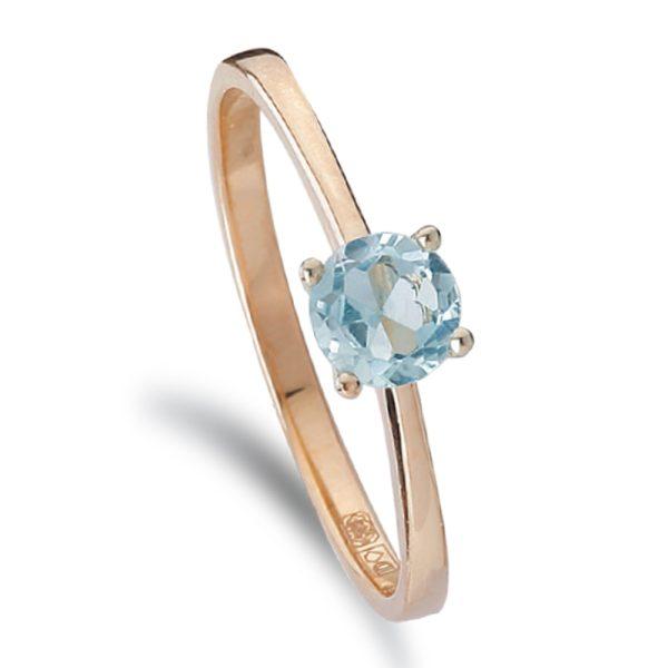 14krt. Gouden ring met een blauwtopaas steen.